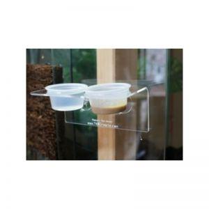 Akryl vand- og foderholder med sugekopper til Gekkoer