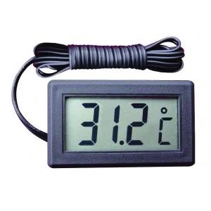 Termometer m/føler sort