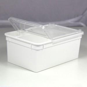 Hvid Plastbøtte m. låg 1,3L